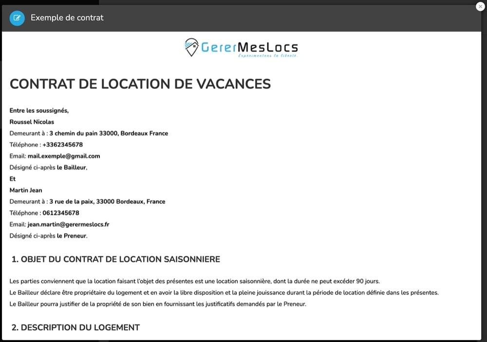 contrat de location de vacance sans commissions
