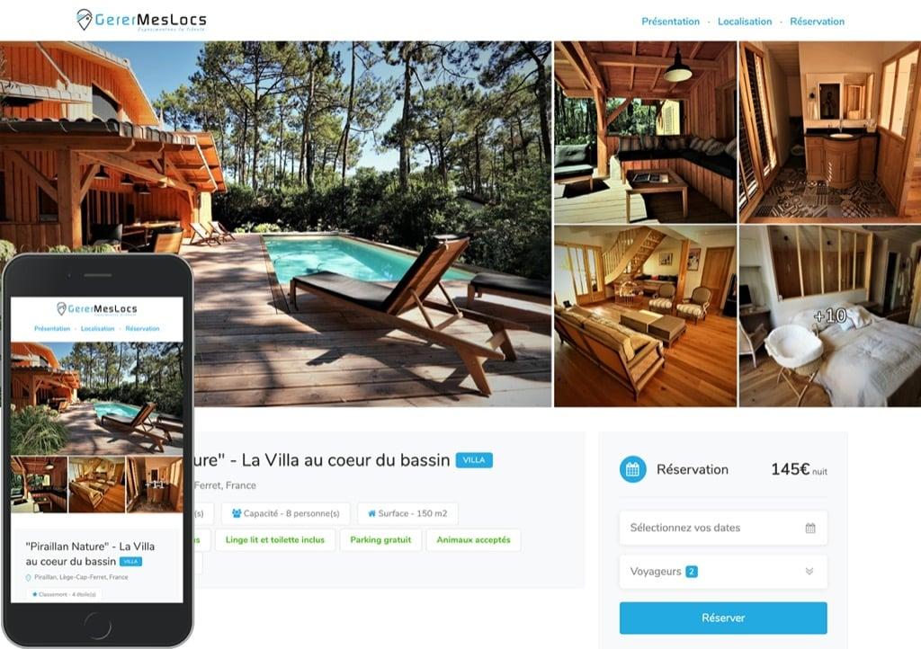 Service de site web gratuit pour votre location saisonnière sur tablette et mobile
