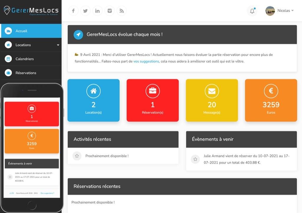 Statistiques, optimisation et gestion gratuite de votre location saisonnière sur tablette et mobile